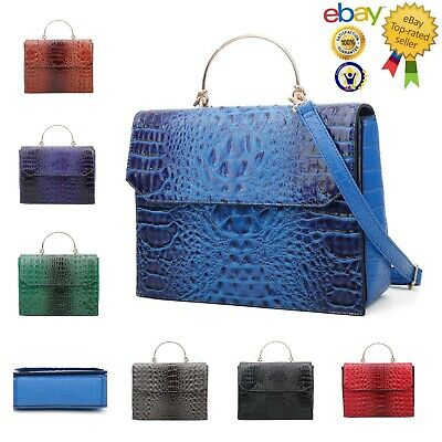 New Women's Crocodile Print Faux Leather Square Shape Hand Bag With Metal Handle