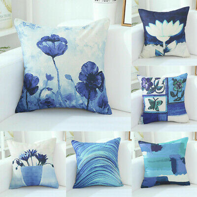 Cotton Linen Chinese Style 18inPainting Pillow Case Sofa Cushion Home Decoration