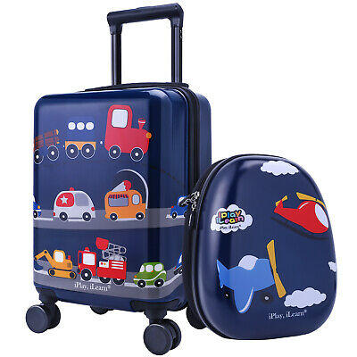 "16"" Carry On Spinner Luggage Backpack Set Kids Suitcase School Bag Wheel Trolley"