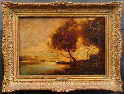 Signed Corot Old Antique French Barbizon Landscape Oil Painting w/ Provenance NR