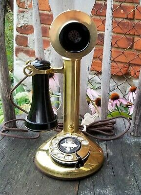Antique Western Electric Brass Candlestick Rotary Telephone Patent 1920