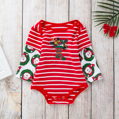 US Toddler Baby Boy Girl Christmas Xmas Long Sleeve Romper Bodysuit Clothes Tops