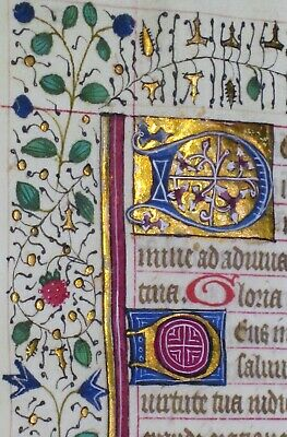 Medieval Illuminated Manuscript Lf.BoH.color Border&Gold Init.Psalm 70,c.1460