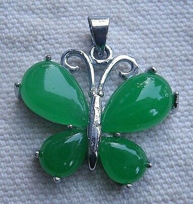 Faux Green Jade Butterfly Pendant sterling silver plated  insect animal wings