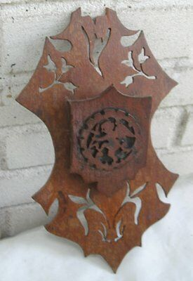 Antique Wall Hanging Match Holder Intricate Carved Wood Child Wings Angel Cross