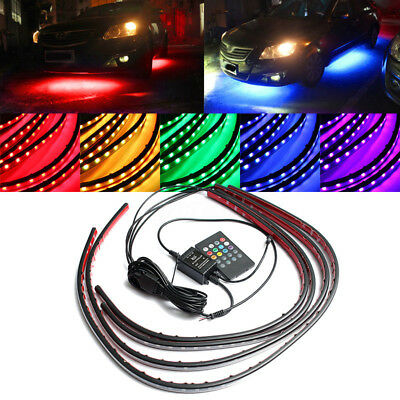 4x RGB LED Unterboden Beleuchtung 180 SMD Tube Strip Farbwelchsel Musik
