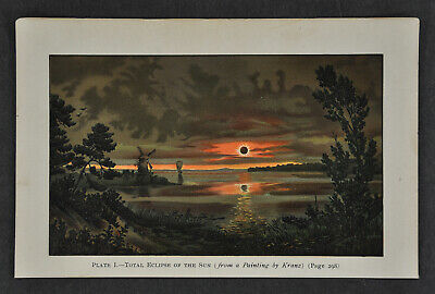 1897 Antique Print Total Solar Eclipse of the Sun Astronomy after Kranz Painting