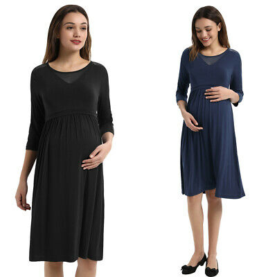 Nursing Pregnant Women Summer Comfy Maternity Dress Breastfeed Casual Nightgown