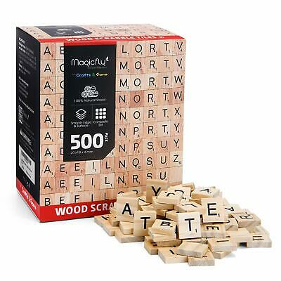 500/1000Pcs Wooden Scrabble Tiles Letters For Crafts Wood Alphabet Board Toy