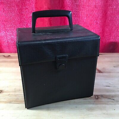 7 Inch Singles Vinyl Records Box Case Black Handle Faux Leather Retro Vintage