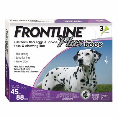 Frontline Plus for Dogs Large Dog 45 to 88 pounds Flea and Tick Treatment,3-Dose