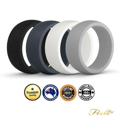 Mens 4 Pack Silicone Wedding Rings | Safe Work Sport Gym Bands