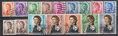 1962 Hong Kong  Queen Elizabeth Ii Definitives Complete And Used Sg # 196-210
