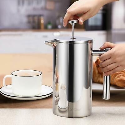 1500ML Stainless Steel Double Wall Cafetiere Coffee Maker Press Coffee Maker US