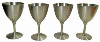 Pewter Goblet Stemmed Champagne Glass 60's Yoonly Singapore Set 4