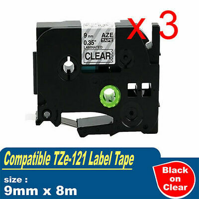3x Compatible with Brother P-touch Labels Tze121 Tape PT-900 PT-1000 9mm x 8m