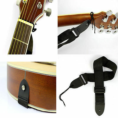 Guitar Bass Adjustable Soft PU Leather Thick Strap for Electric Acoustic Straps