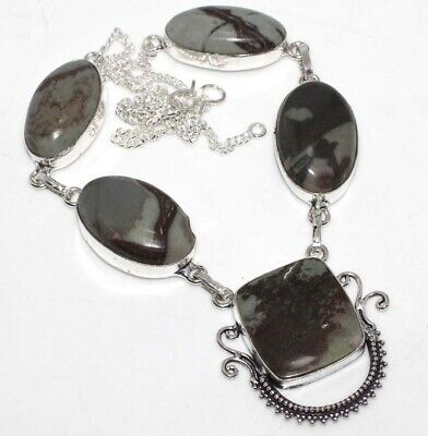 E4203 Picasso Jasper 925 Sterling Silver Plated Necklace 18""