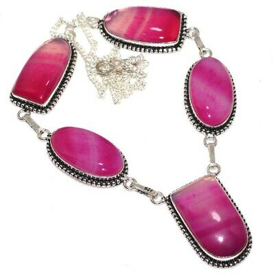 """D19985 Botswana Agate 925 Sterling Silver Plated Necklace 19"""""""