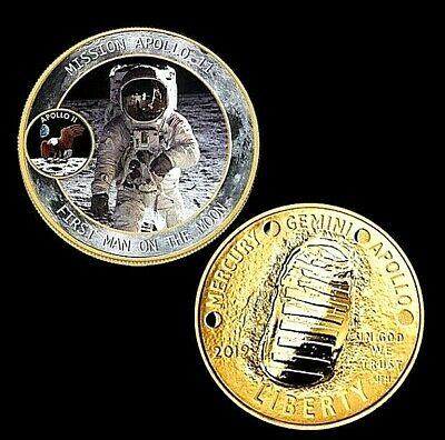 Apollo Astronaut Gold Coin Moon Landing Neil Armstrong Buzz Aldrin Science 1969