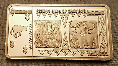 100 Trillion Dollar Zimbabwe Silver Bar Ingot Bank Note Money African Unusual UK