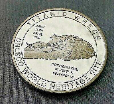 Titanic Silver 3D Coin Hologram Wreck UNESCO World Heritage Site Atlantic Ocean