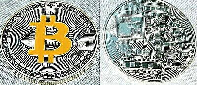 Bit Coin Gold Silver Crypto Currency Cyber Virtual Online Computer Internet Cash