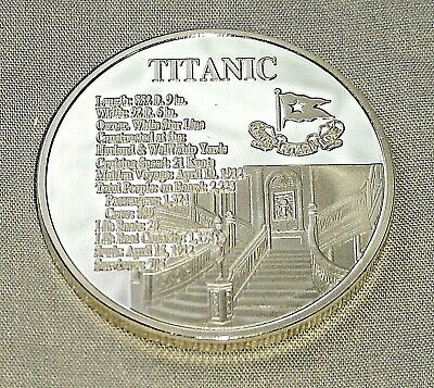 Titanic Silver Stair Case Coin Medal Sea Ship White Star Line New York London UK