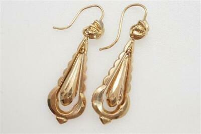 ANTIQUE LATE VICTORIAN ENGLISH 9K GOLD FACETED DROP EARRINGS c1890