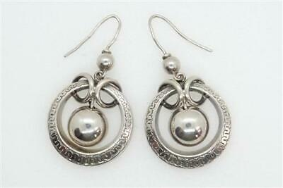 BEAUTIFUL ANTIQUE VICTORIAN ENGLISH STERLING SILVER CREOLE HOOP EARRINGS c1880