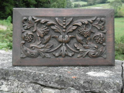 SUPERB 19thc GOTHIC OAK CARVED PANEL WITH TWO GARGOYLE HEADS
