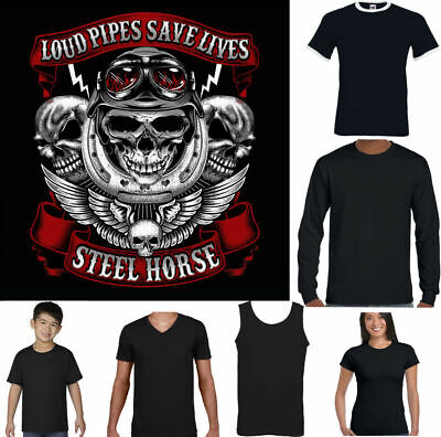 Steel Horses Loud Pipes Save Lives Funny Biker T-Shirt Motorbike Motorcycle
