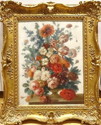 19th Century French School Still Life Of Flowers Roses Antique Oil Painting