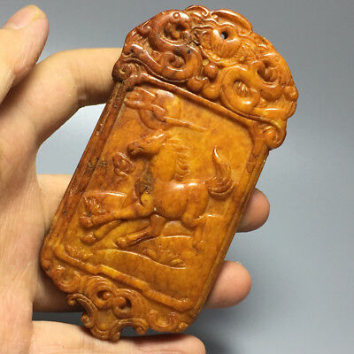 123g Chinese hand-carved antique jade pendant horse 1pcs