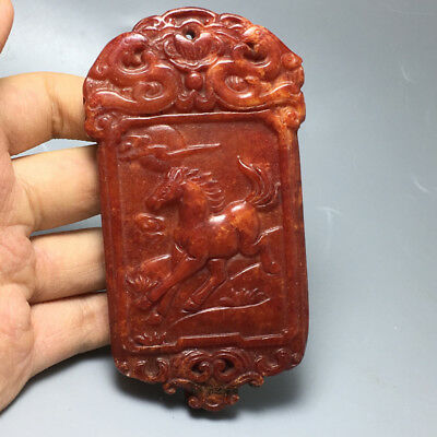 118g Chinese hand-carved antique jade pendant horse a16 1pcs