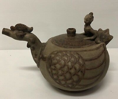 Antique   Thai  Si Satchanalai Thai Boy & Hansa Bird   Kendi  Water   Vase