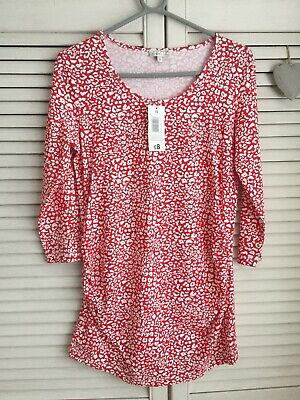 Red & White Patterned 3/4 Sleeves Maternity Top Size 12 Bnwt Freepost In Uk