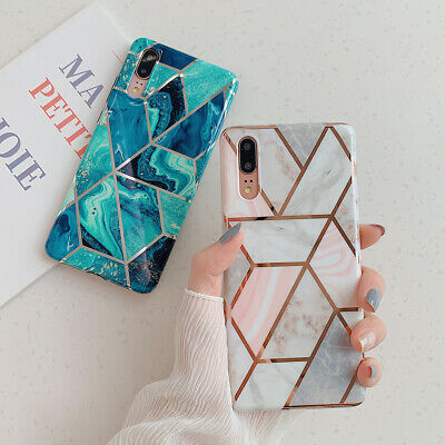 Geometric Marble Case for Huawei Mate 20 Lite P30 P20 Pro Soft Pastel Cover