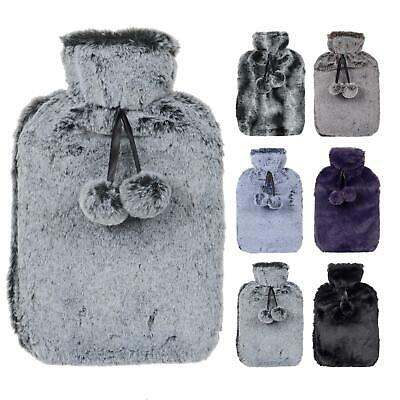 Large Luxury Faux Fur Hot Water Bottle New With Pom Poms Thermotherapy Gift 2L