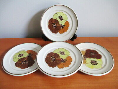 Denby San Gabriel 4 Bread Tea Plates Brown Gold Yellow Flowers 1970s Stoneware
