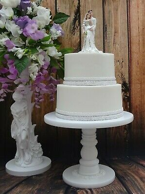 12 inch  WHITE PAINTED HAND MADE  WOODEN PEDESTAL WEDDING CAKE STAND  *