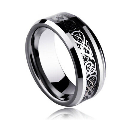 Black Celtic Dragon Stainless Steel Titanium Men's Wedding Band Rings Size 6