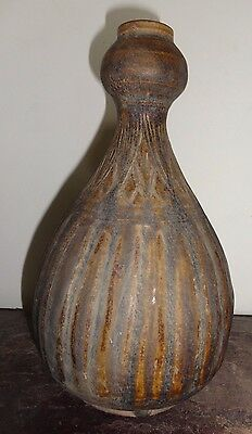 ANTIQUE 16 - 18thc   Thai SAWANKHALOK   LOTUS PETAL   PUMPKIN  SHAPED VASE