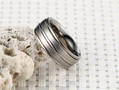 Men&Women Stainless Steel Titanium Silver Band Ring Wedding Engagement Size 8