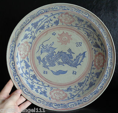 Antique Thai  Sawankhalok  Blue  Dragon Polychrome Plate Charger