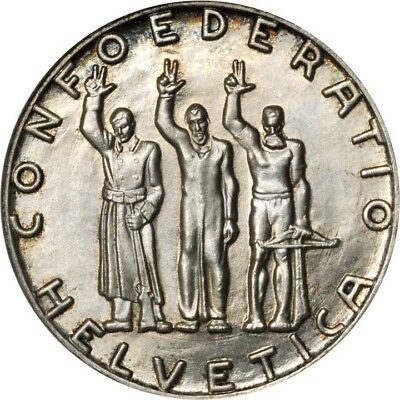 Switzerland  1941  5 Francs Silver Coin, Gem Uncirculated Certified Ngc Ms66