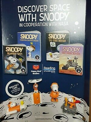 2019 McDONALDS SNOOPY NASA COMPLETE SET OF 8 TOYS AND BOOKS - READY TO SHIP
