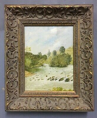 Antique Original Oil On Board Painting In Gold Gilt Frame