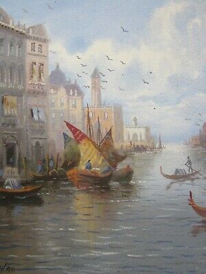 Late 19th Century Painting, Signed, Vibrant VENETIAN Canal Scene, ITALY