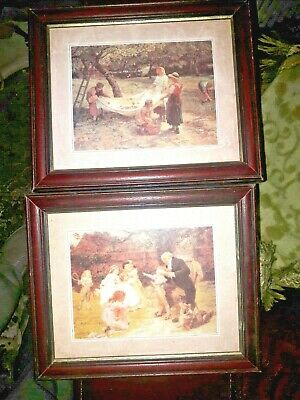 Pair Of Wooden Framed / Glass - Victorian Style / Romantic Prints